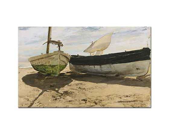 Joaquin Sorolla Sahilde Tekneler