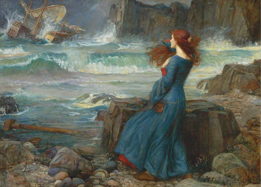 John William Waterhouse Miranda Fırtınalı Denizi Seyrederken