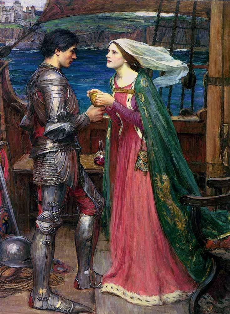 John William Waterhouse Tristan ve Isolde iksir içerken