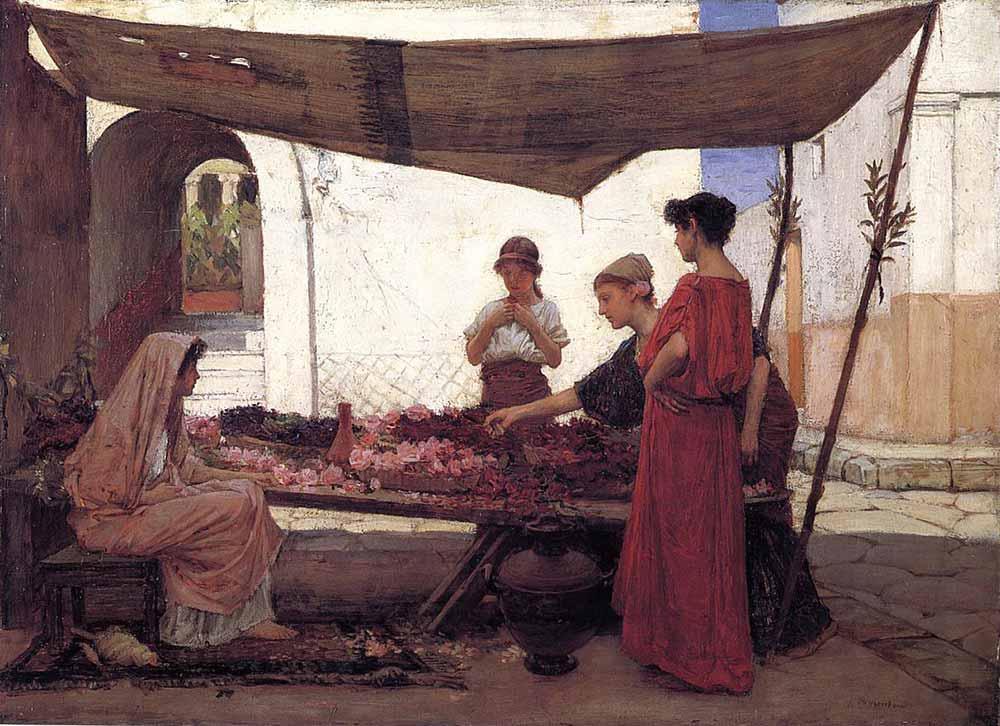 John William Waterhouse Yunan Çiçek Pazarı