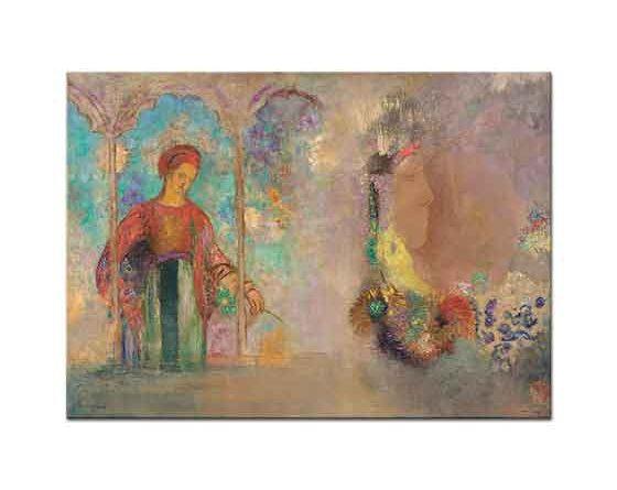 Odilon Redon Çiçekler içinde Kadın