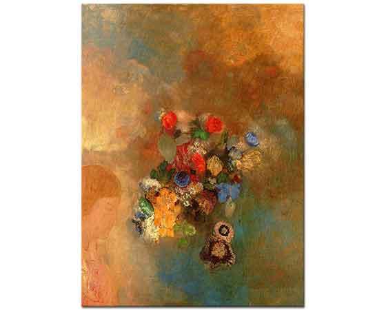 Odilon Redon Çiçekler ve Kız Profili
