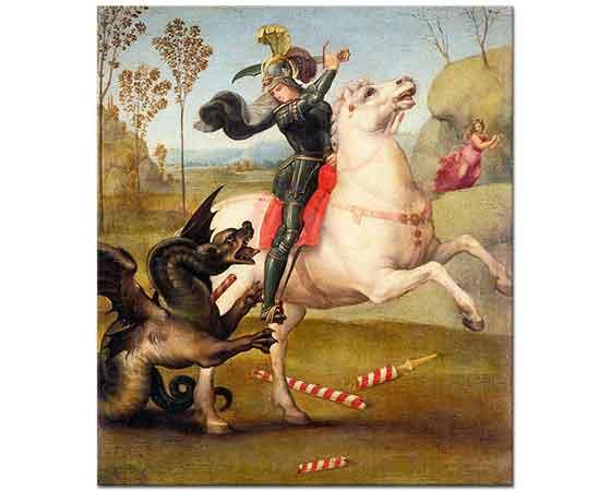 Sanzio de Urbino Raphael Aziz George Ejderha ile Savaşırken