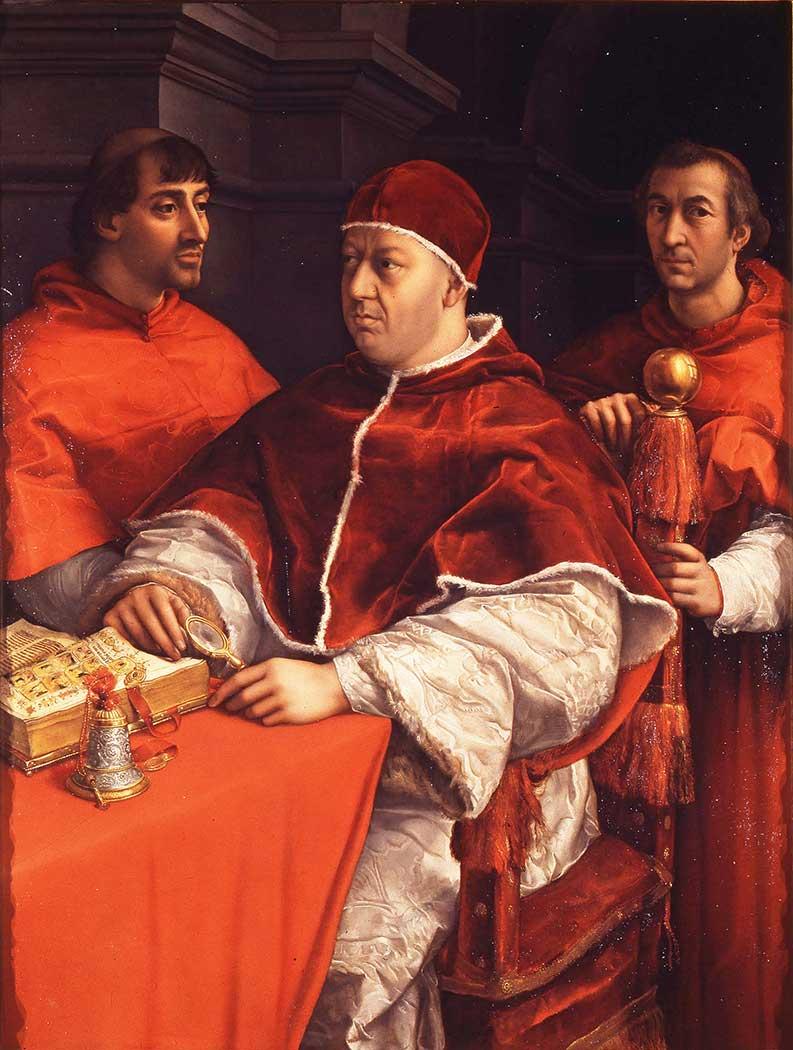 Sanzio de Urbino Raphael Papa Leo ve Giulio de Medici ve Luigi de Rossi