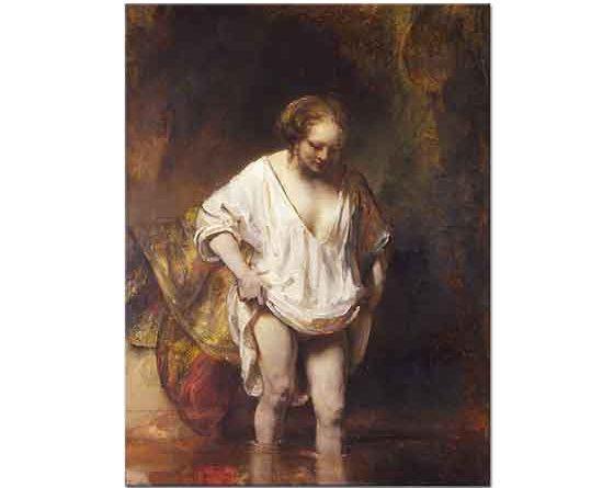 Rembrandt Derede Yıkanan Kadın