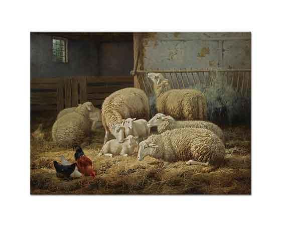 Theo van Sluys Ahırda Koyun ve Tavuklar