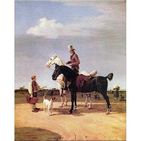 Wilhelm von Kobell İki Atı ile Süvari