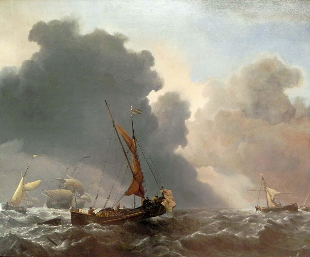 Willem van de Velde Fırtınalı Denizde Tekneler