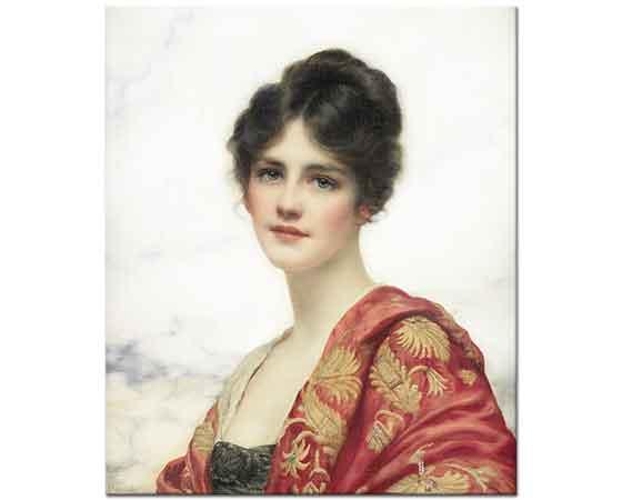 William Clarke Wontner Elbiseli Güzel Kadın