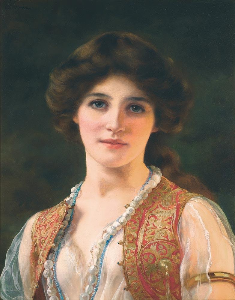 William Clarke Wontner Yelekli Genç Kadın