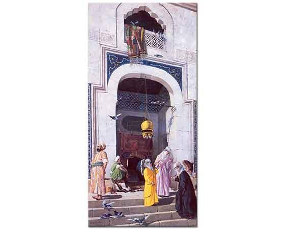 Osman Hamdi Cami Kapısında Feraceli Kadınlar
