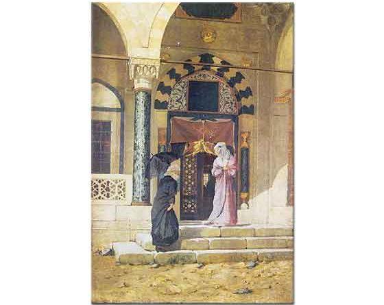Osman Hamdi Türbe Kapısı Önünde iki Kadın