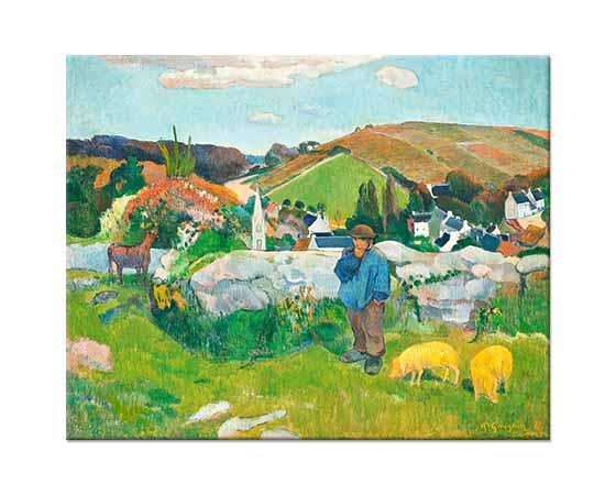 Paul Gauguin Breton Manzarası ve Domuzlar