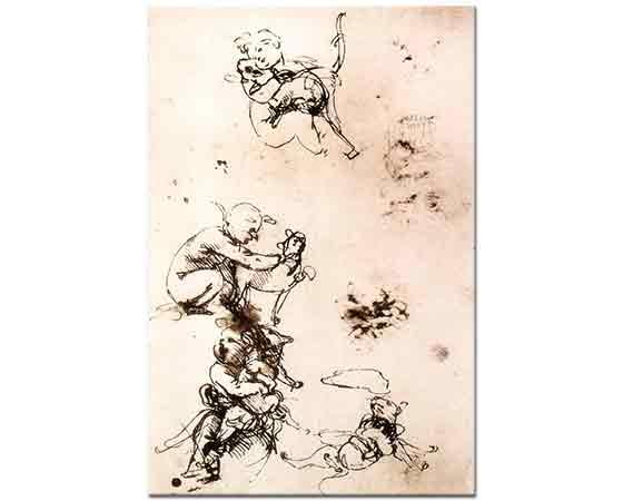 Leonardo Da Vinci Çocuk Ve Kedi Eskizleri
