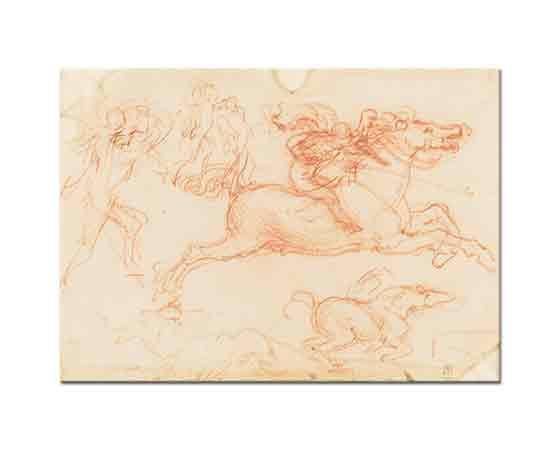 Leonardo Da Vinci Dörtnala At ve Figür Eskizleri