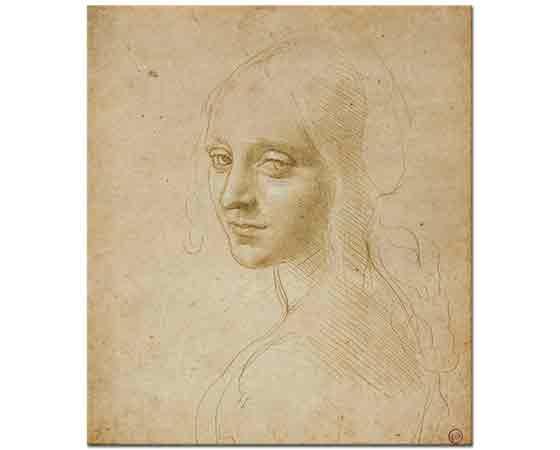 Leonardo Da Vinci Kız Başı Eskizi etüd