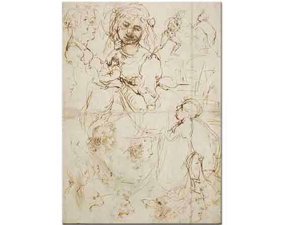 Leonardo Da Vinci Meryemin Profil Eskizleri