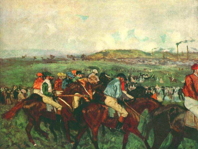 Edgar Degas Yarışçılar Startta tablosu