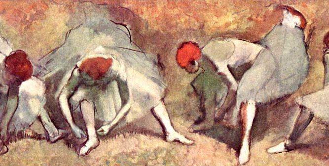 Edgar Degas Ayakkabılarını Bağlayan Balerinler