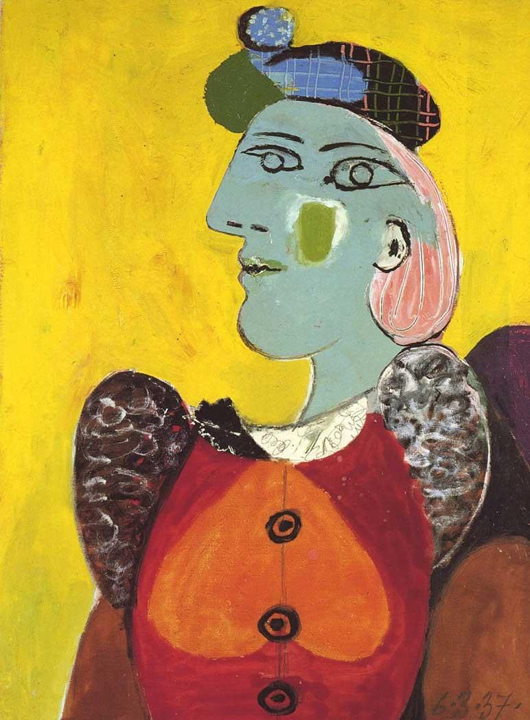 Pablo Picasso Kırmızı Hırkalı ve Bereli Kadın
