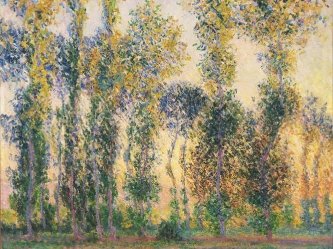Claude Monet Giverny'de Kavaklar ve Gündoğumu