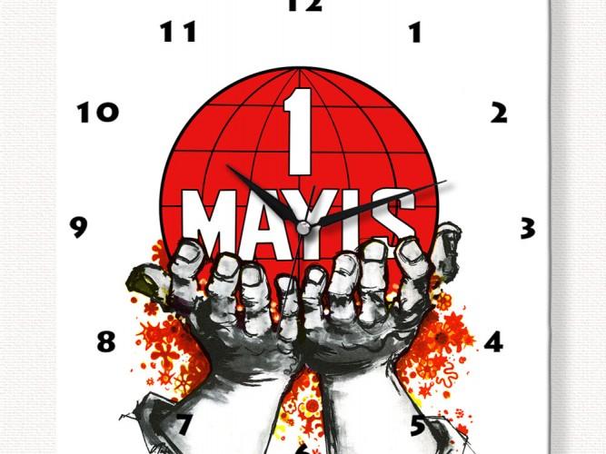 1 Mayıs Afişi Özel Tasarım Duvar Saati