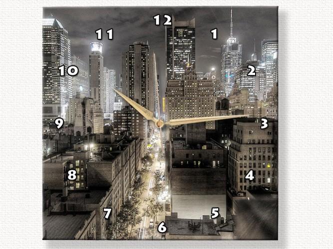 New York Gece Işıkları Duvar Saati