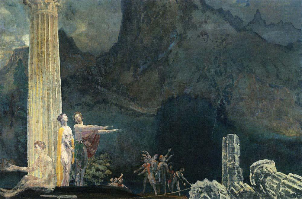 Arthur Bowen Davies Tapınakta Çalışanlar