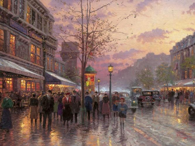 Thomas Kinkade Bulvar ışıkları Paris