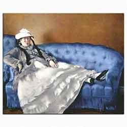 Bayan Manet Mavi Koltukta