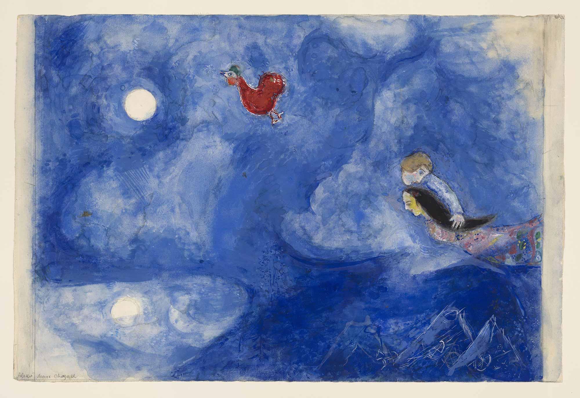 Marc Chagall Aleko ve Zemphira Ay ışığında