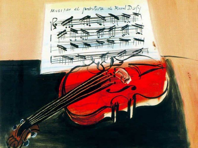 Raoul Dufy Notalar ve Keman tablosu