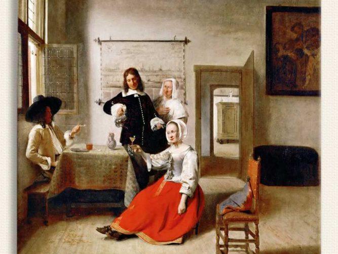 Pieter de Hooch evde içki içenler
