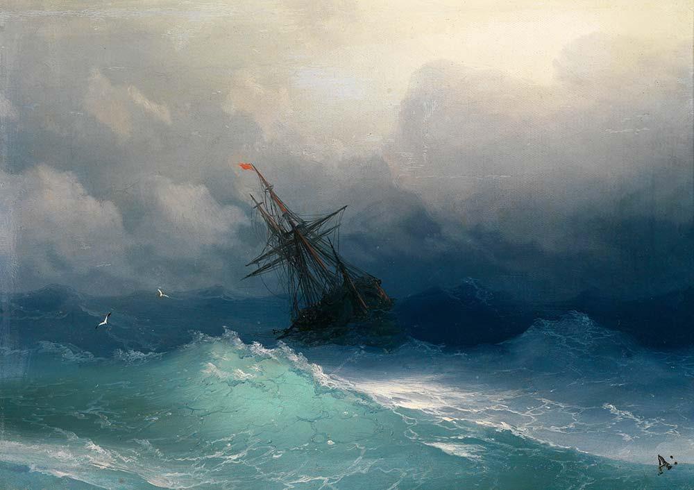 Ivan Konstantinovich Aivazovsky Fırtınalı Denizde Gemi