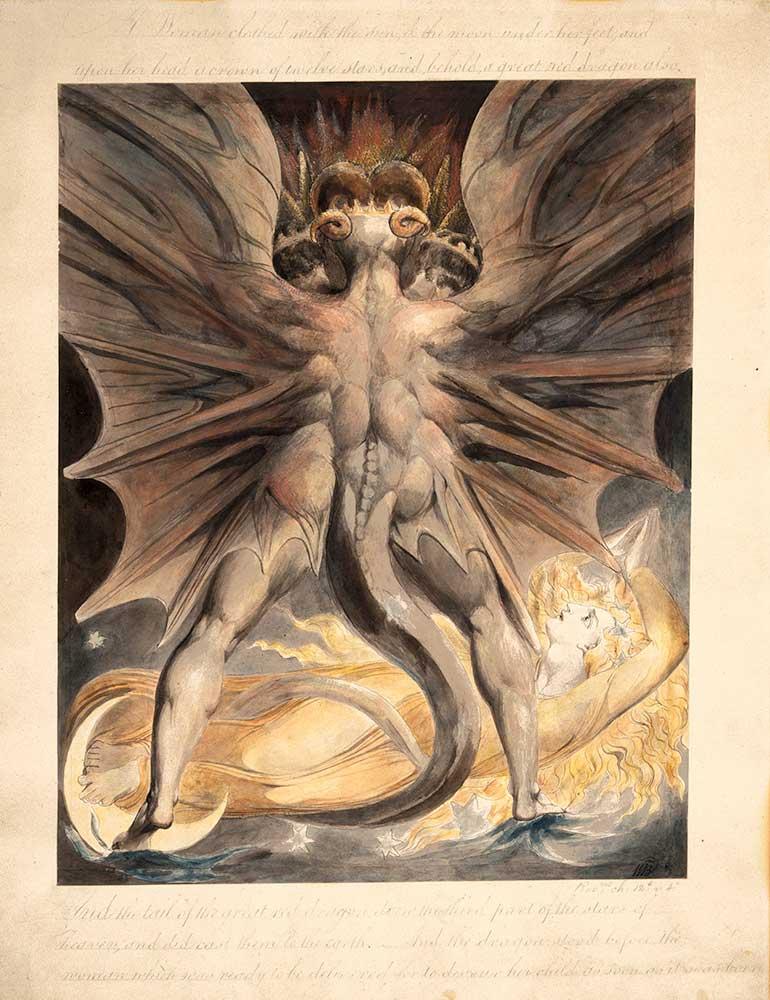 William Blake Kızıl Ejder ve Güneşle Giyinen Kadın