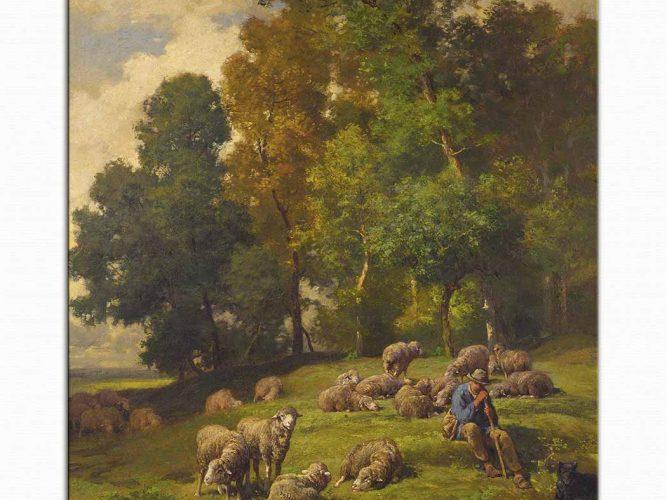 Charles Emile Jacque çoban ve sürüsü