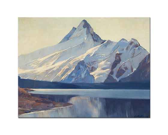 Virgilio Costantini Schreckhorn Tepesi ve Göl Manzarası