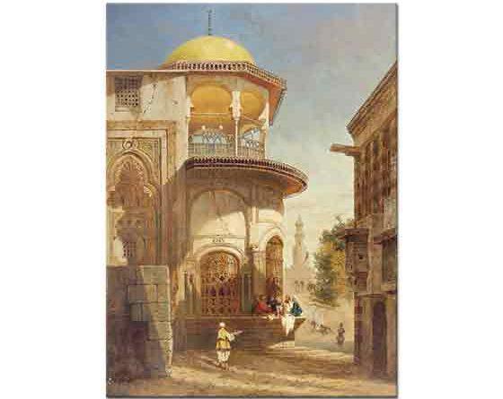 Adrien Dauzats Eski Kahire'den Sokak Manzarası