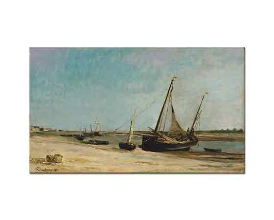 Charles Francois Daubigny Etaples Sahilinde Tekneler