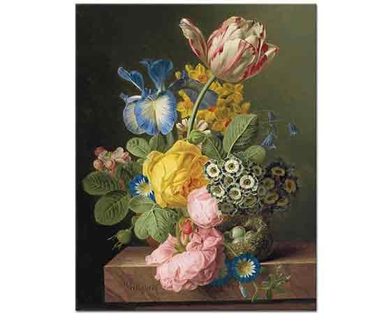 Jan Frans van Dael Vazoda Çiçekler ve Kuş Yuvası