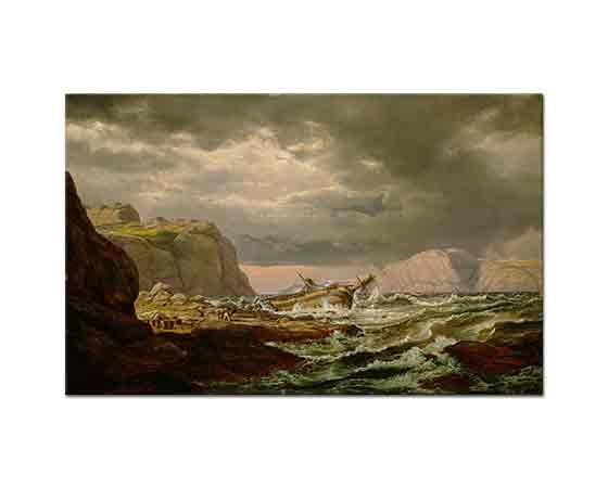 Johan Christian Dahl Norveç Kıyısında Gemi Kazası