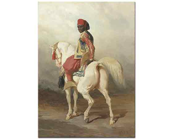 Alfred de Dreux Sudanlı Damat Beyaz At Üstünde