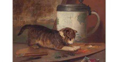 John Henry Dolph Resim Paleti ile Oynayan Kedi