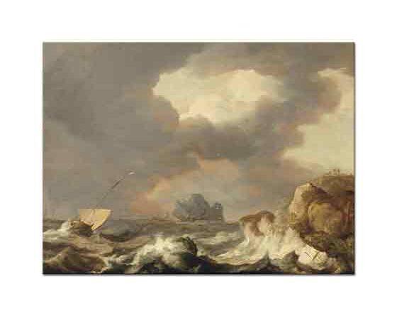 Allaert van Everdingen Fırtınalı Denizde Gemi