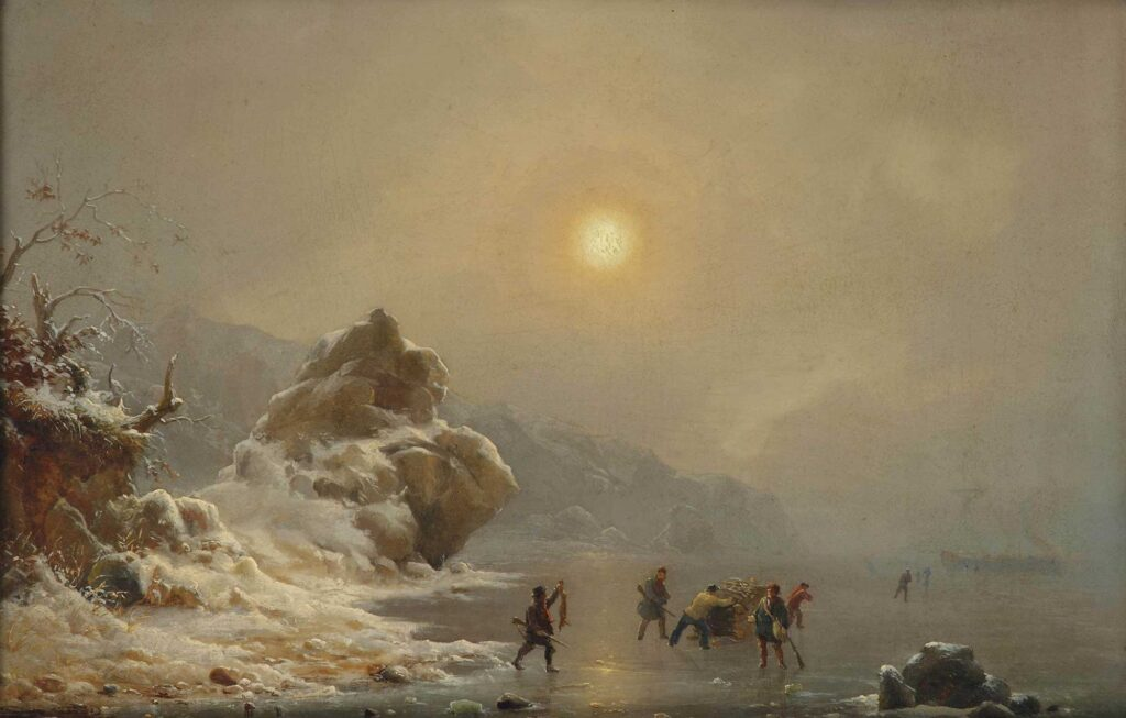 Andreas Achenbach Buz üzerinde Avcılar