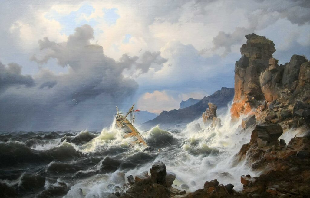 Andreas Achenbach Norveç Kıyısında Fırtına