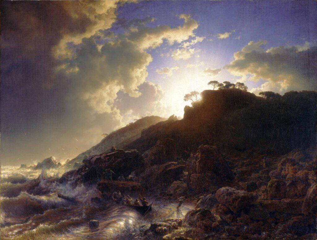 Andreas Achenbach Sicilya Sahilinde Fırtına Sonrası Günbatımı
