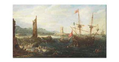 Andries van Eertvelt Sahilde Savaş Gemileri