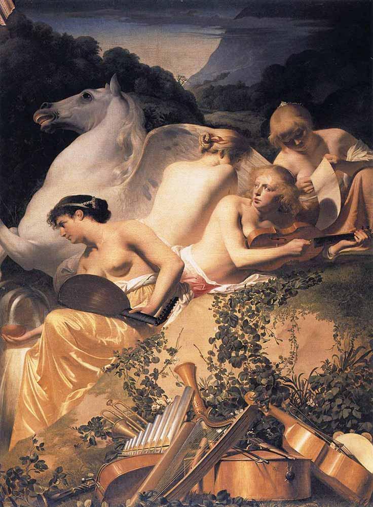 Caesar van Everdingen Dört Muse ve Pegasus Parnassus Dağında