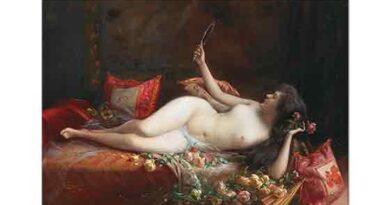 Delphin Enjolras Güllerle Süslü Yatakta Kadın